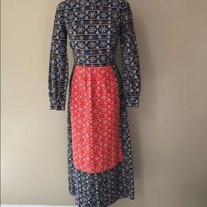 Vintage 60s Floral Hippie Maxi Dress Size 8